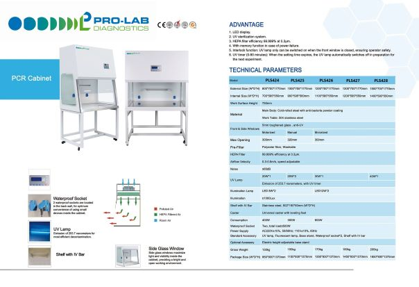 PCR Cabinet Specifications